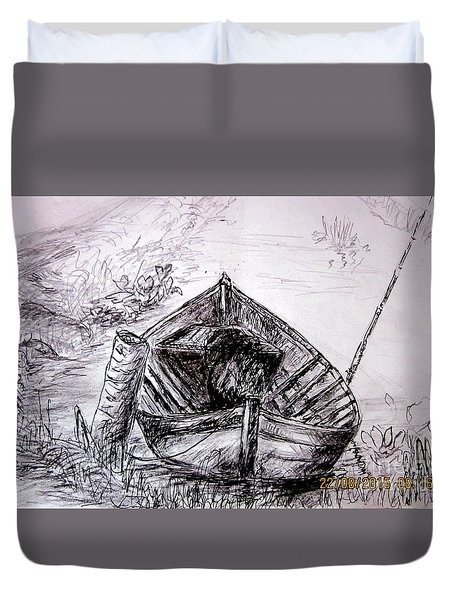 Duvet Cover featuring the drawing Klotok  by Jason Sentuf