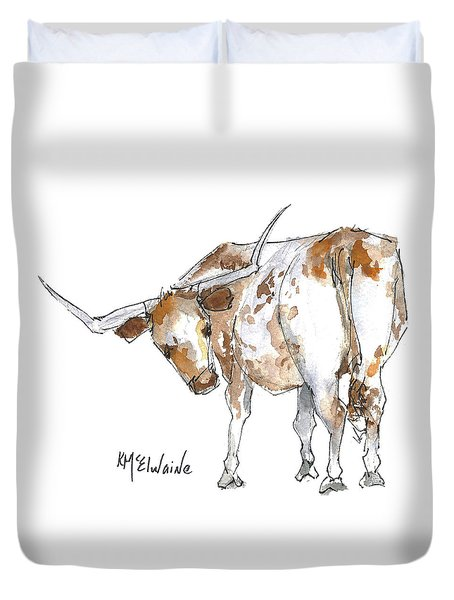 Kmcelwaine Logo Longhorn, Ollie, Texas Longhorn Art Print,watercolor Cow Painting, Whimsical, Duvet Cover