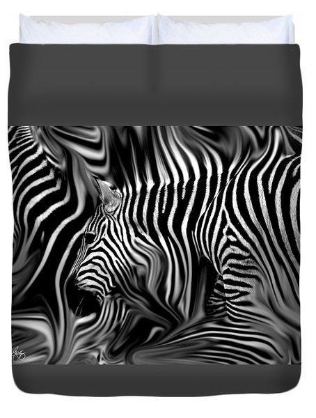 Knee Deep In Zebras Monochrome Duvet Cover