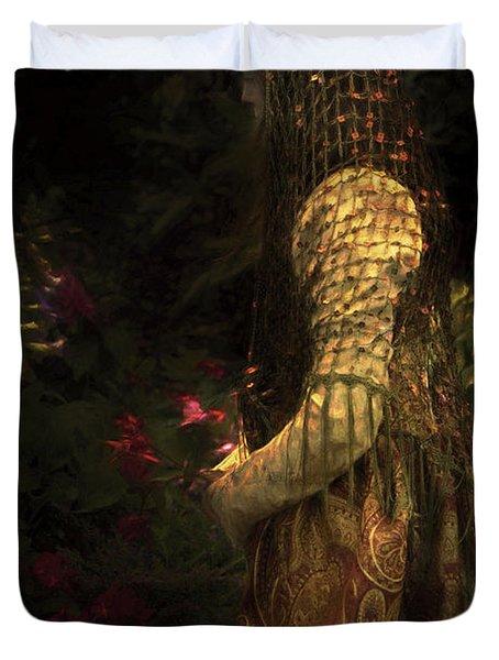 Kneeling In The Garden Duvet Cover