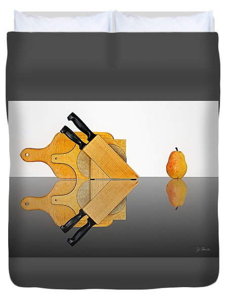 Knife Block, Cutting Boards And Pear Duvet Cover