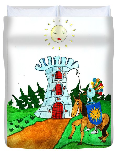 Brave Knight-errant And His Funny Wise Horse Duvet Cover