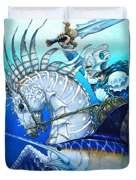 Duvet Cover featuring the digital art Knight Of Swords by Stanley Morrison