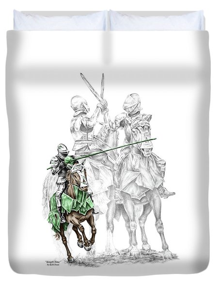 Knight Time - Renaissance Medieval Print Color Tinted Duvet Cover