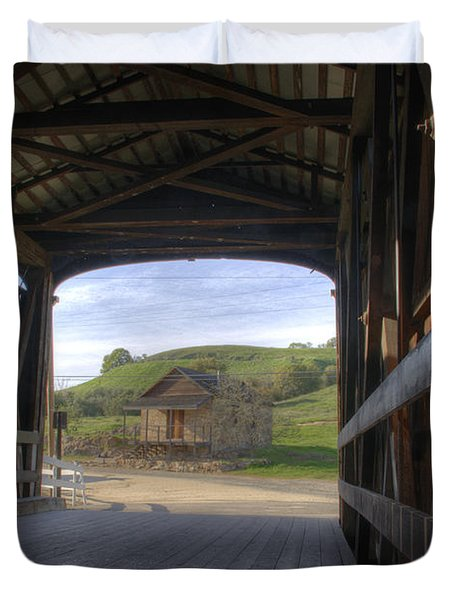 Knights Ferry Covered Bridge Duvet Cover by Jim And Emily Bush