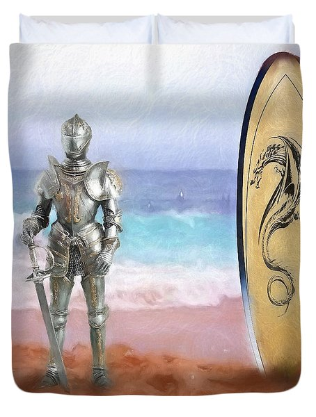 Duvet Cover featuring the painting Knights Landing by Michael Cleere