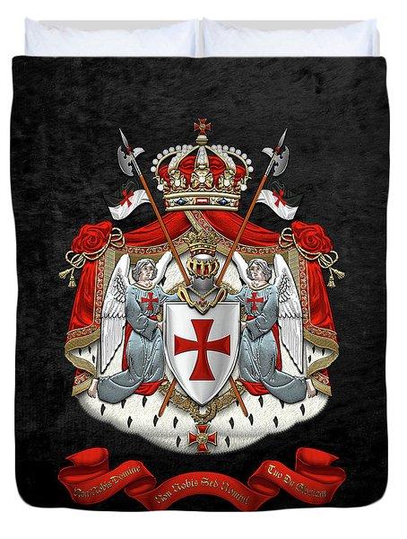 Knights Templar - Coat Of Arms Over Black Velvet Duvet Cover