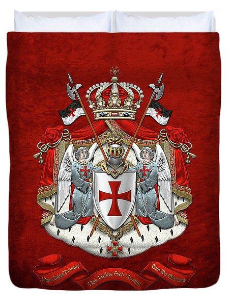 Knights Templar - Coat Of Arms Over Red Velvet Duvet Cover