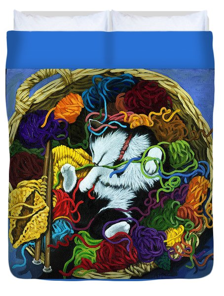 Duvet Cover featuring the painting Knitter's Helper - Cat Painting by Linda Apple