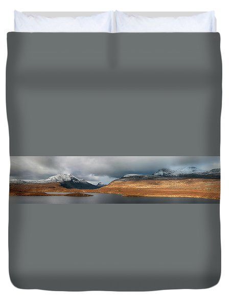Duvet Cover featuring the photograph Knockan Crag Mountain View by Grant Glendinning
