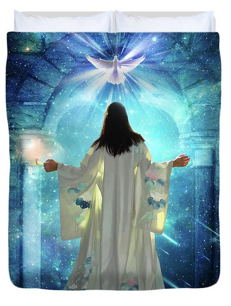 Duvet Cover featuring the digital art Knocking On Heavens Door by Dolores Develde