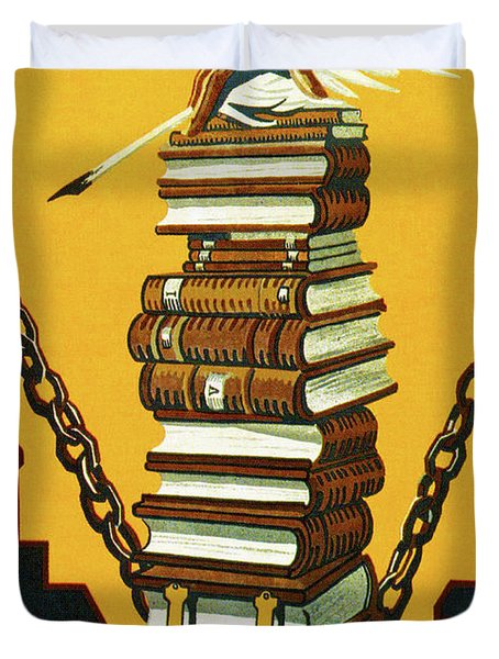 Knowledge Will Break The Chains Of Slavery, 1920 Duvet Cover