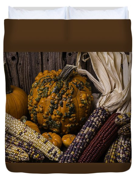 Knuklehead Pumpkin And Indian Corn Duvet Cover