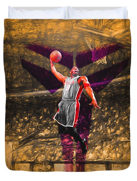 Kobe Bryant Black Mamba Digital Painting Duvet Cover by David Haskett