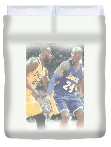 Kobe Bryant Lebron James 2 Duvet Cover by Joe Hamilton