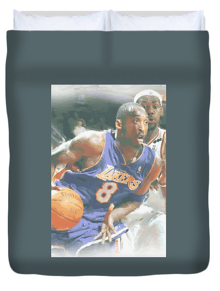 Kobe Bryant Lebron James Duvet Cover by Joe Hamilton