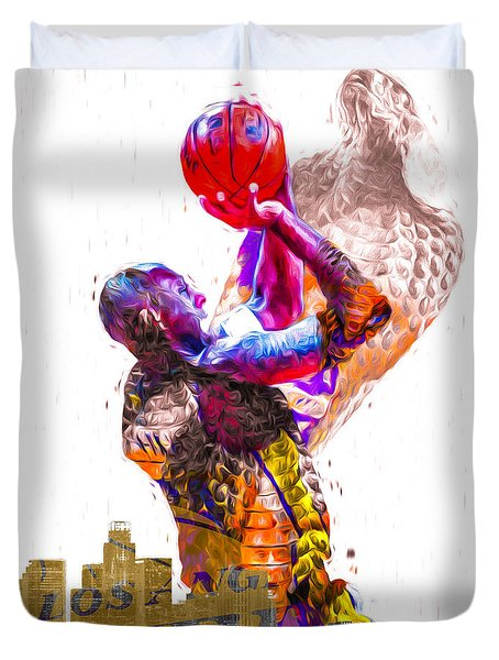 Kobe Bryant Los Angeles Lakers Digital Painting Snake 1 Duvet Cover by David Haskett
