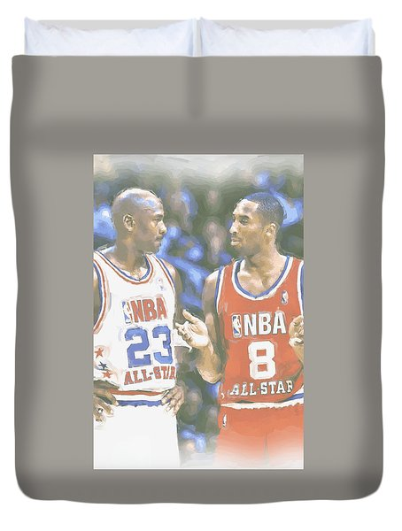 Kobe Bryant Michael Jordan Duvet Cover