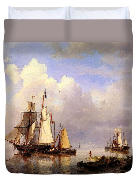 Koekkoek Hermanus Vessels At Anchor In Estuary With Fisherman Duvet Cover