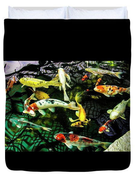Duvet Cover featuring the photograph Koi 2018 1 by Phyllis Spoor
