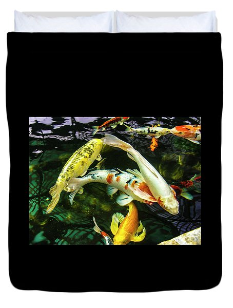 Duvet Cover featuring the photograph Koi 2018 2 by Phyllis Spoor