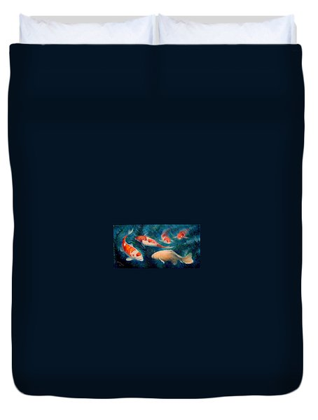 Duvet Cover featuring the painting Koi Ballet 2 by Donelli  DiMaria