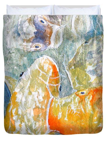 Koi Carp Feeding Frenzy Duvet Cover by Bill Holkham