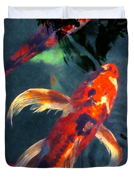 Duvet Cover featuring the digital art Koi by Chuck Mountain