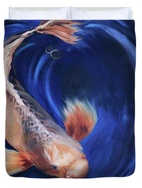 Duvet Cover featuring the painting Koi by Donna Tuten