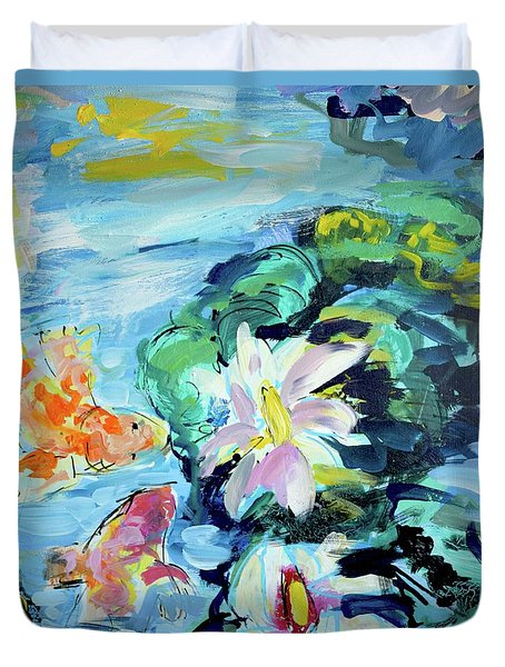 Koi Fish And Water Lilies Duvet Cover