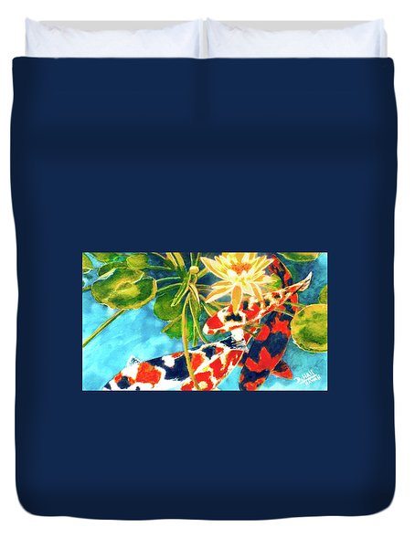 Koi Fish #104 Duvet Cover by Donald k Hall
