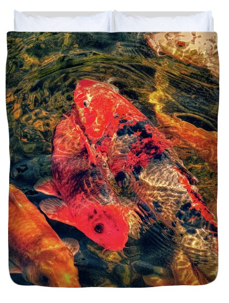 Koi Fish Fresco One Duvet Cover