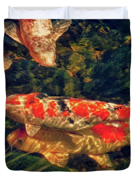 Koi Fish Fresco Two Duvet Cover