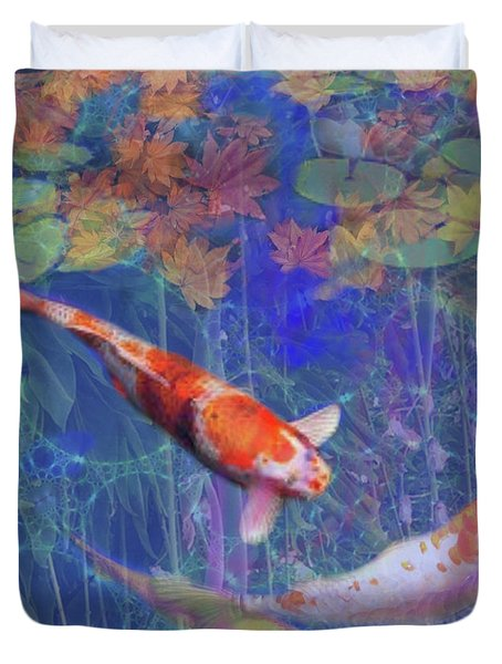 Koi Fish Pond Japanese Tea Garden  Duvet Cover