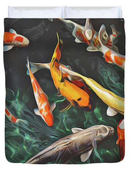 Duvet Cover featuring the painting Koi by Harry Warrick