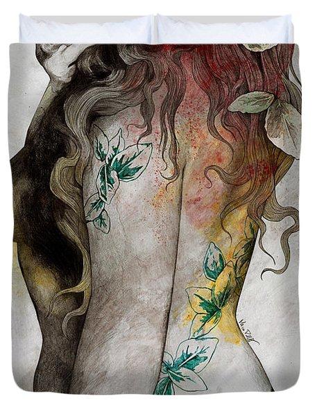 Koi No Yokan - Erotic Drawing, Sexy Tattoo Girl In Thong Biting An Apple Duvet Cover