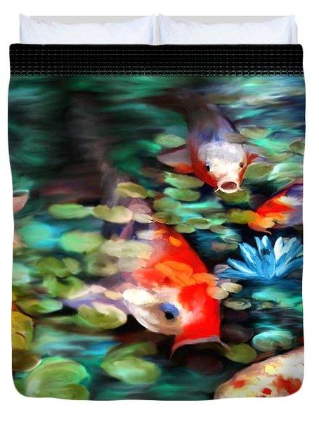 Koi Paradise Duvet Cover by Susan Kinney