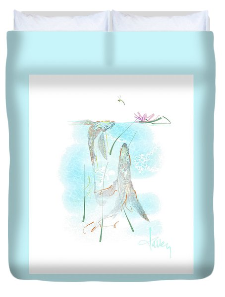 Duvet Cover featuring the mixed media Koi Pond  by Larry Talley