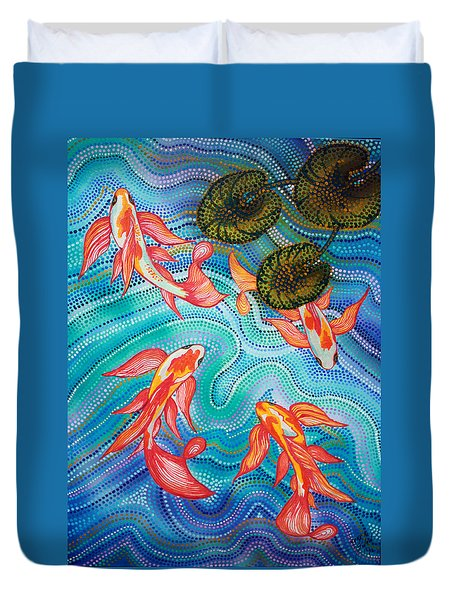 Koi pond painting by mark swain for Koi pool cover