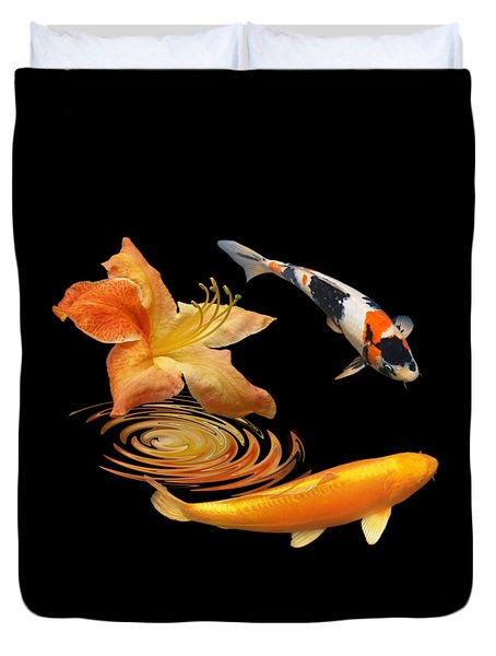 Koi With Azalea Ripples Duvet Cover