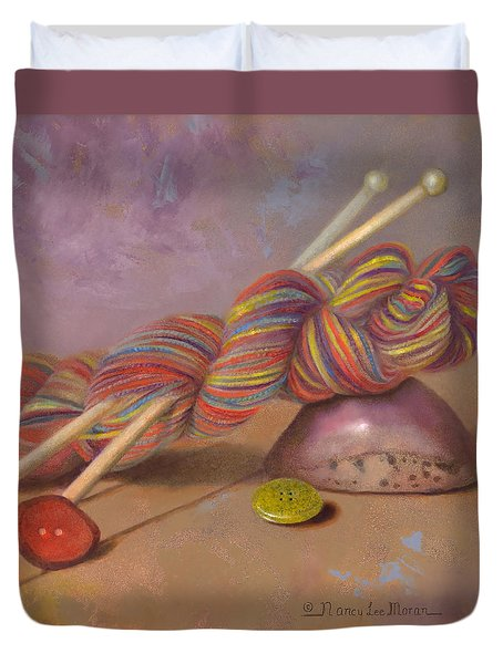 Duvet Cover featuring the painting Koigu Yarn With Buttons by Nancy Lee Moran