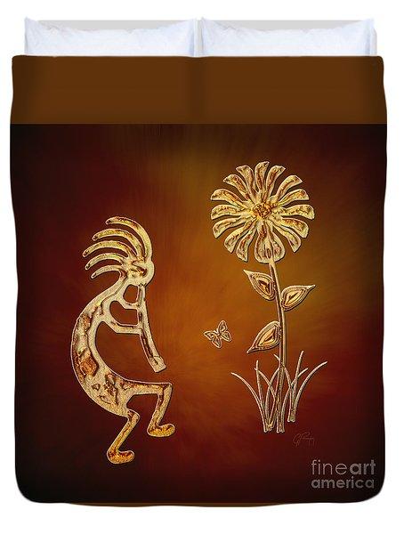 Kokopelli - Flower Serenade Duvet Cover
