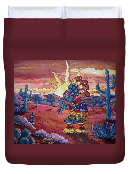 Kokopelli Sunset Duvet Cover by Megan Walsh