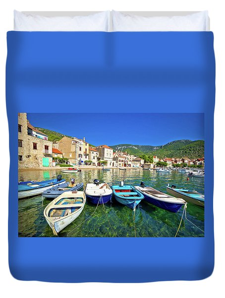 Komiza On Vis Island Turquoise Waterfront Duvet Cover by Brch Photography