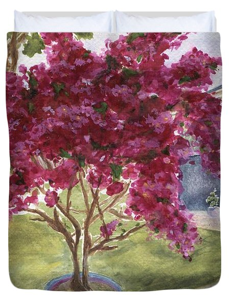 Duvet Cover featuring the painting Kona Bougainvillea by Jamie Frier