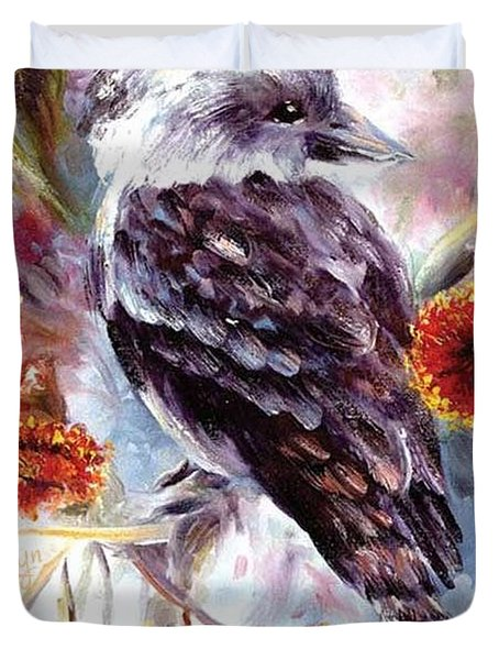 Kookaburra In Red Flowering Gum Duvet Cover
