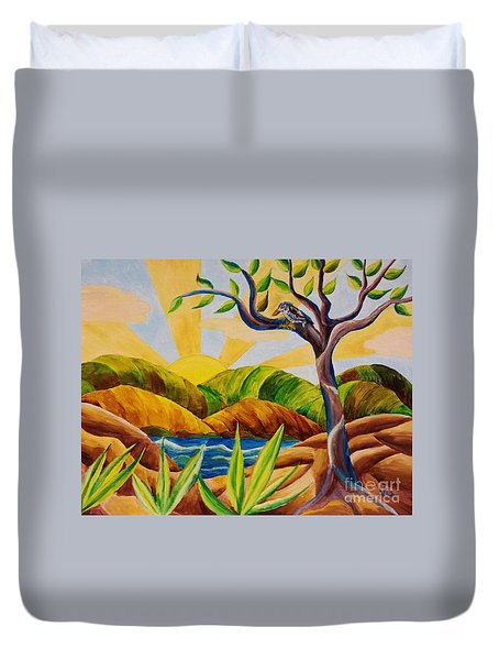 Kookaburra Landscape Duvet Cover by Judy Via-Wolff