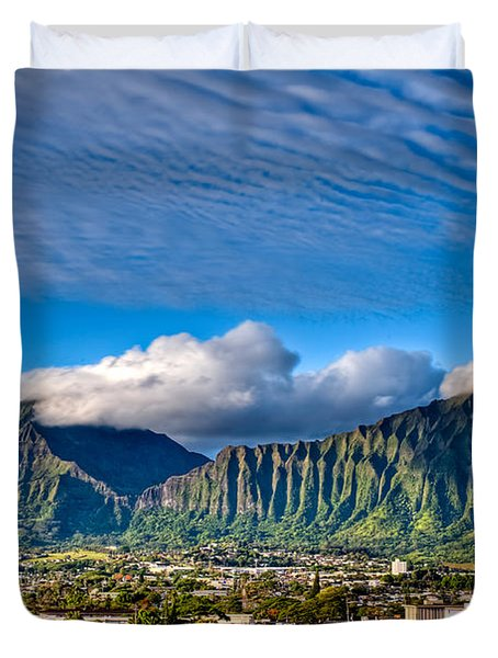 Koolau And Pali Lookout From Kanohe Duvet Cover