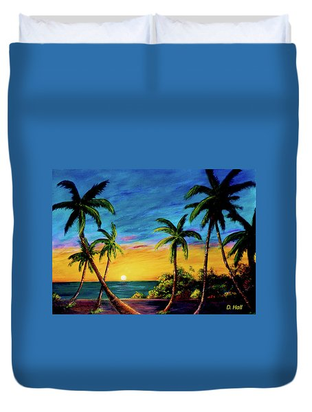 Ko'olina Sunset On The West Side Of Oahu Hawaii #299 Duvet Cover by Donald k Hall
