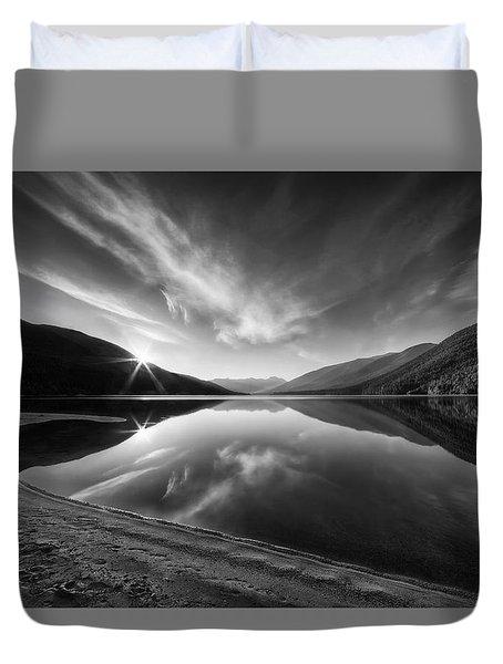 Kootenay Lake Sunrise Black And White Duvet Cover
